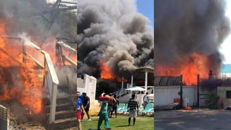 بالفيديو والصور: حريق ضخم في مجمع سياحي في جبيل.. طال عدد من المطاعم والشاليهات القريبة!